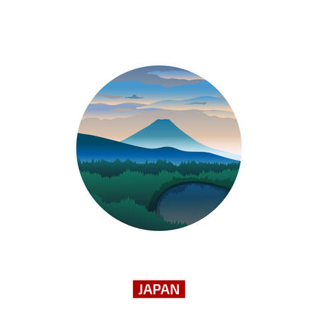 discover: Japanese landscape with mountain Fuji. Discover the world nature background. Travel icon