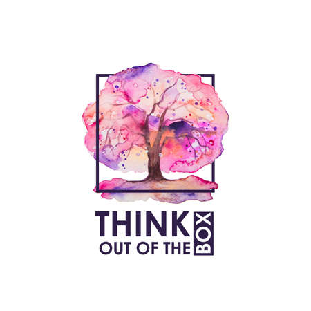 think out of box: Inspiring  inscription with Japanese tree of sakura. Think out of the box frase