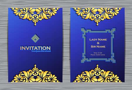 plantilla elegante con adornos de encaje y el lugar de texto. tarjeta de invitación de lujo sobre fondo azul