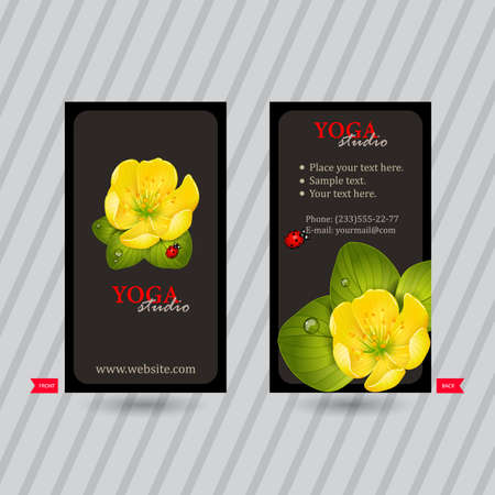 naturalistic: Business card with naturalistic floral composition for yoga studio or club. Vertical template. Ready to use business cards. Business idea for corporate identity
