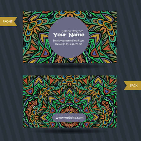 pattern corporate identity orange: Vector  templates set of business card with doodles colorful ornament. Hand drawn pattern. Bright creative corporate identity Illustration
