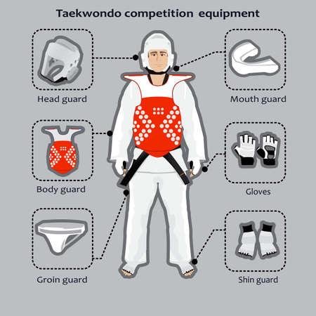 Material de competición de Taekwondo arte marcial coreano. Deportista en el uniforme.
