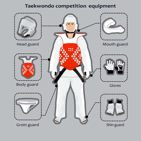 groin: Taekwondo Korean martial art competition equipment. Sportsman in the uniform.