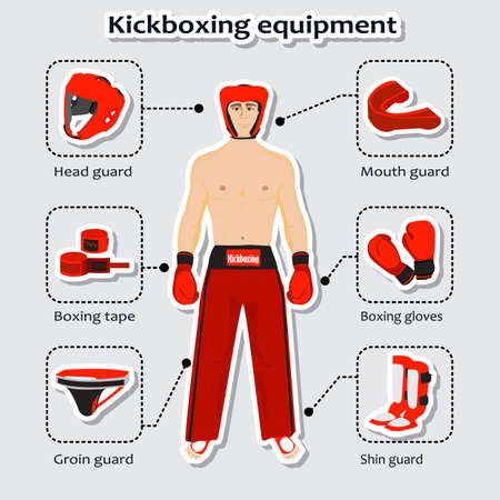 boxing tape: Sport equipment for kickboxing martial arts with sportsman in the uniform.