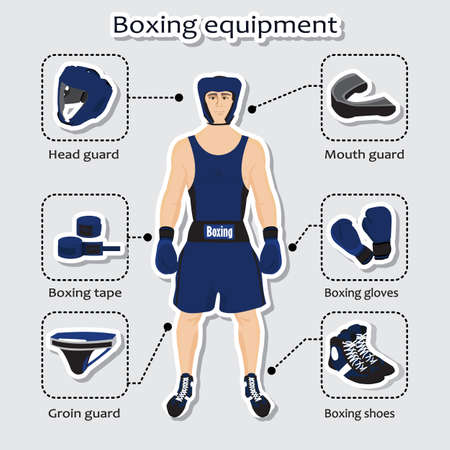 guard box: Sport equipment for boxing martial arts with sportsman in the uniform. Illustration