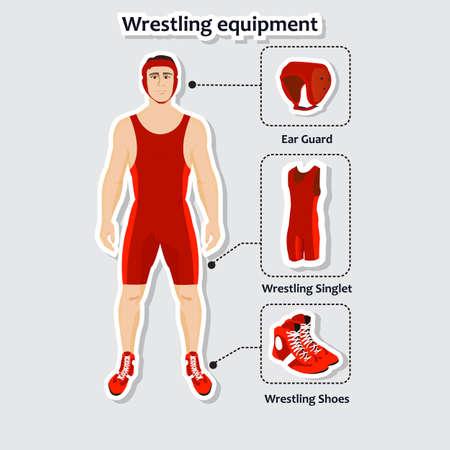 Conjunto de equipos de lucha libre con el hombre. Singlete, zapatos y protector auditivo. Deportista en el uniforme.