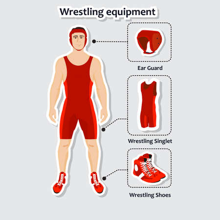ear protection: Set of wrestling equipment with man. Singlet, shoes and ear guard. Sportsman in the uniform.