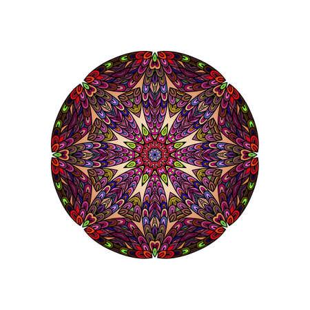 escamas de peces: plantilla redondo de la mandala colorida. Hanw el trazado de líneas de bosquejo. Al igual que las escalas de peces juntos Vectores