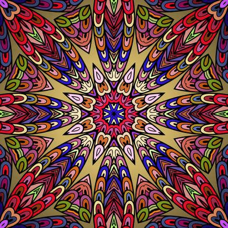 indian fish: Seamless pattern with colorful circle ornament.  Caleidoscopic hand drawn doodle lines.