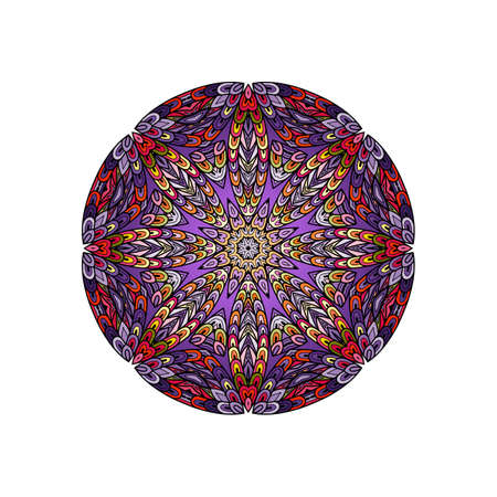 escamas de peces: Colorful round mandala template. Hanw drawing doodle lines. Like fish scales together Vectores