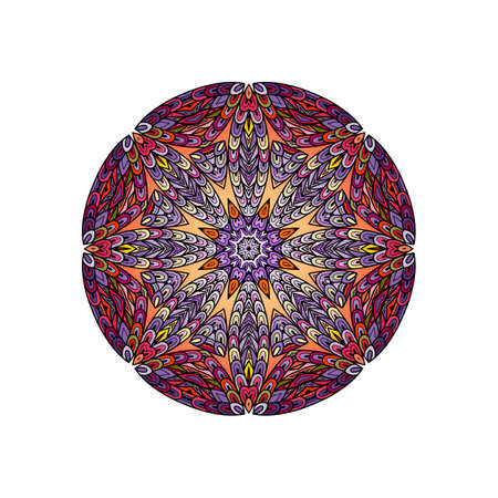 fish with scales: Colorful round mandala template. Hanw drawing doodle lines. Like fish scales together Illustration
