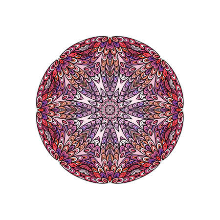 fish scales: Colorful round mandala template. Hanw drawing doodle lines. Like fish scales together Illustration