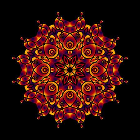 swirling: Colorful decorative card with mandala of swirling waves. Creative modern idea
