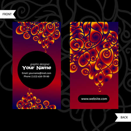 swirling: Colorful decorative design of business card with swirling waves. Modern style