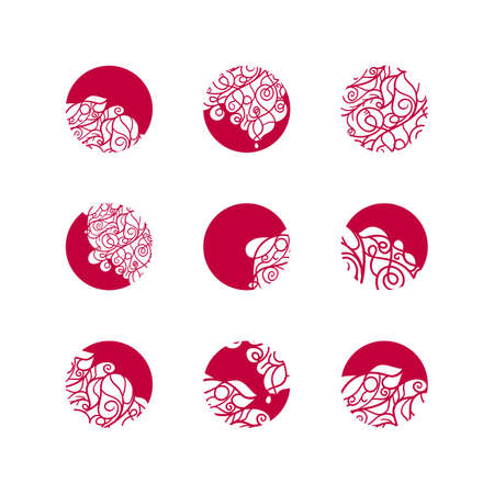 Set van mozaïek kant logo in stempel stijl. Stencil abstract monogrammen