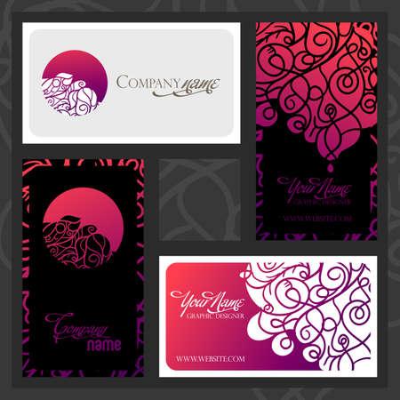 Kleurrijke decoratieve vormgeving van visitekaartje met wervelende golven. Twee verschillende patronen met logo