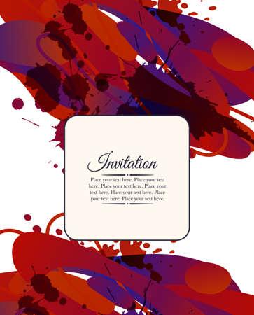 Kleurrijke decoratieve uitnodigingskaart met vrije vormen en vlekken. Kan gebruikt worden voor zakelijke sjabloon of te hervatten. Wenskaart Stock Illustratie