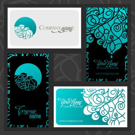 Kleurrijke decoratieve vormgeving van visitekaartje met wervelende golven.