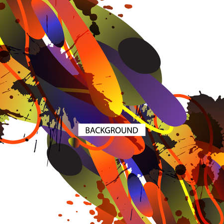 splash page: Colorful decorative background with free shapes and blots. For business template or resume. Greeting card