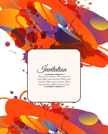 Kleurrijke decoratieve uitnodigingskaart met vrije vormen en vlekken. Kan gebruikt worden voor zakelijke sjabloon of te hervatten. Wenskaart Stockfoto