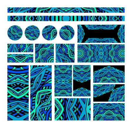 Set van mozaïek ontwerp elementen voor het verfraaien. Stencil abstract monogrammen