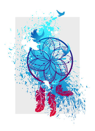 Tribal symbol of dreamcatcher with feathers and flying birds. Made with blot splatters. Art work can be used for t-shirt design. Illustration