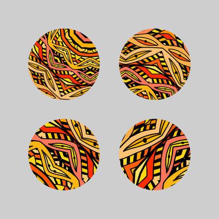 Set van ronde mozaïek design elementen. Stencil abstract monogrammen Stock Illustratie
