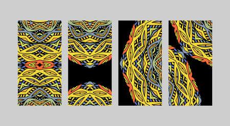 Set van mozaïek modern design voor het visitekaartje. Sjabloon. Stencil doodle patronen