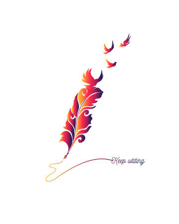 Keep writing quote made with feather and flying birds. Inspiration picture for writers.