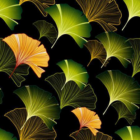 Ginkgo bladeren naadloze patroon met kleurrijke handgetekende elementen