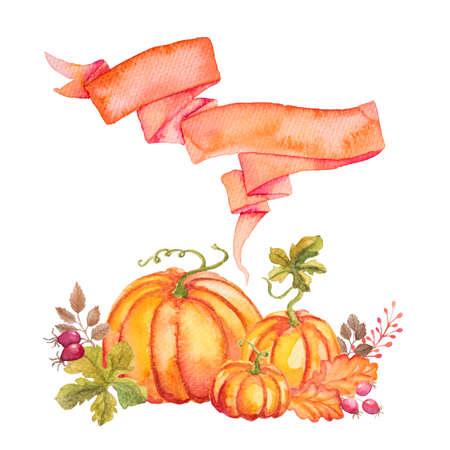 Sjabloon van Aquarel pompoenen met bladeren en lint. Kan gebruikt worden voor wenskaart voor Thanksgiving day, Halloween of andere herfstvakantie Stockfoto
