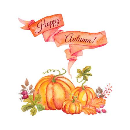 Sjabloon van Aquarel pompoenen met bladeren en lint. Kan gebruikt worden voor wenskaart voor Thanksgiving day, Halloween of andere herfstvakantie Stock Illustratie