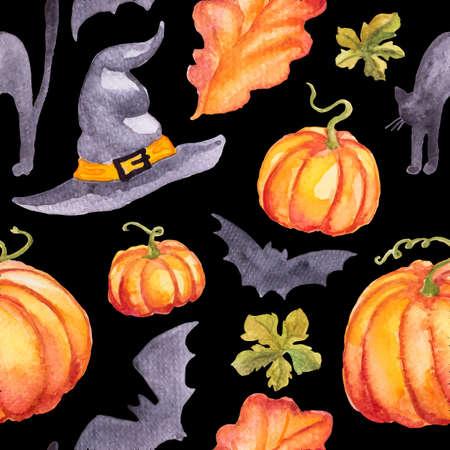 Naadloos patroon wirh waterverf pompoenen, hoed abd vleermuizen. Kan gebruikt worden voor wenskaart voor Thanksgiving day, Halloween of andere herfstvakantie Stock Illustratie