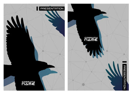 Vector reeks gotische stiled presentatie met crows.Business design template. Stock Illustratie