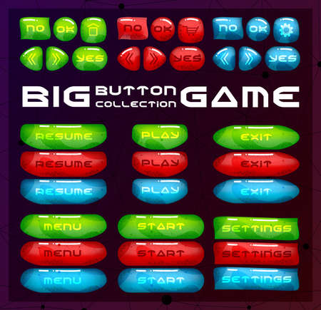 Buttons for game user interface. Concept designed glossy and bright menu elements. Ilustração