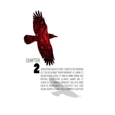 Disposition de chapitre de livre avec une lettre de style comme le doodle crow.