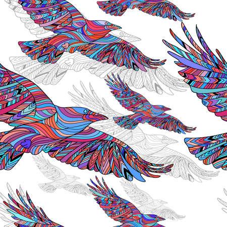 민족 패턴과 손으로 그린 까마귀의 원활한 패턴입니다. 추상적 인 배경