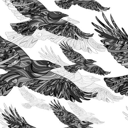 Seamless pattern of Hand-drawn crows with ethnic floral pattern. Abstract background Stock Illustratie
