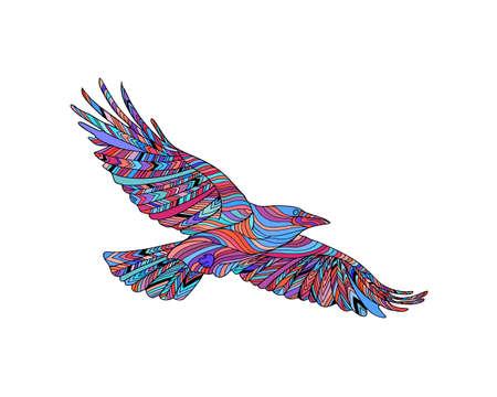 민족적인 패턴 손으로 그린 까마귀입니다. 색칠 공부 페이지 -zendala, 성인, 벡터 일러스트 레이 션, 흰색 배경에 고립 된 영적 휴식을위한 디자인. 일러스트