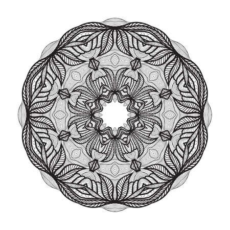 색칠 공부 책을, zendoodle에 대 한 미친 만다라 템플릿입니다. 라운드 지그재그. 디자인을위한 라운드 장식 레이스 패턴