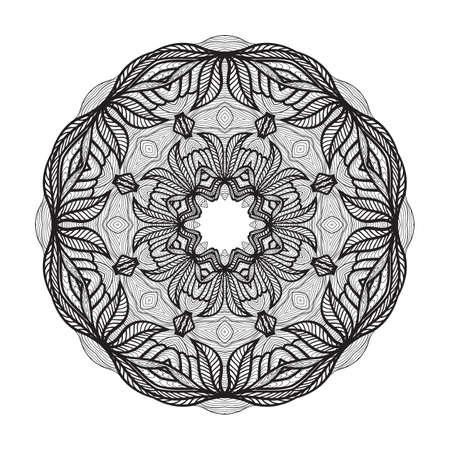 Crazy mandala template for coloring book, zendoodle. Round zentangle. Round ornament lace pattern for your design Ilustração