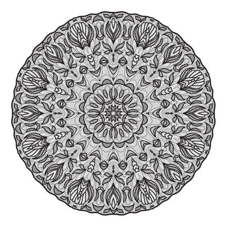 Crazy mandala template for coloring book, zendoodle. Round zentangle.