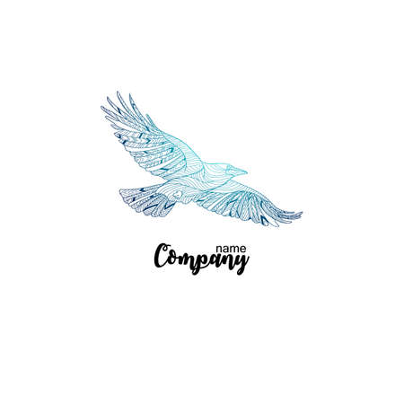 Colorful company icon of flying crow. Logo design for company. Ilustração