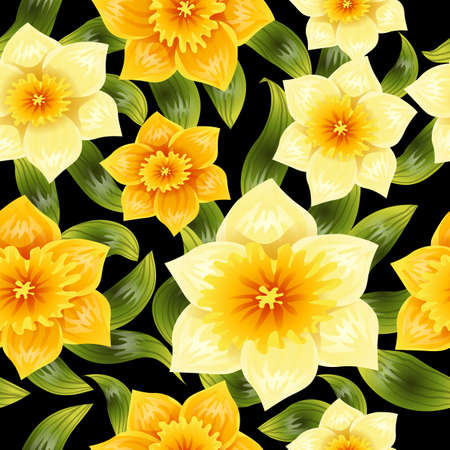 노란 수 선화 수 선화와 원활한 배경입니다. 봄 꽃 줄기와 나뭇잎입니다. 현실적인 패턴 일러스트