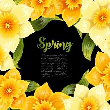 노란 수 선화 수 선화와 우아한 배경입니다. 봄 꽃 줄기와 나뭇잎입니다. 현실적인 패턴