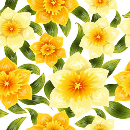 Seamless background with yellow daffodil narcissus. Spring flower with stem and leaves. Realistic pattern