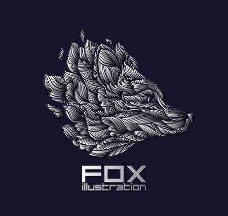 벡터 폭스 또는 늑대 디자인 아이콘 로고 럭셔리 실버