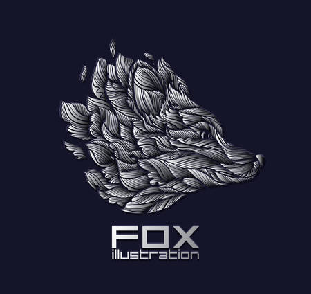 Vector Fox of Wolf Design Icon Logo Luxe Zilver