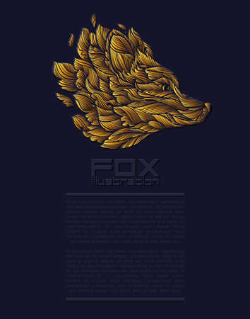 Vector Fox or Wolf Design Icon Logo Luxury Gold. Presentation template Ilustração