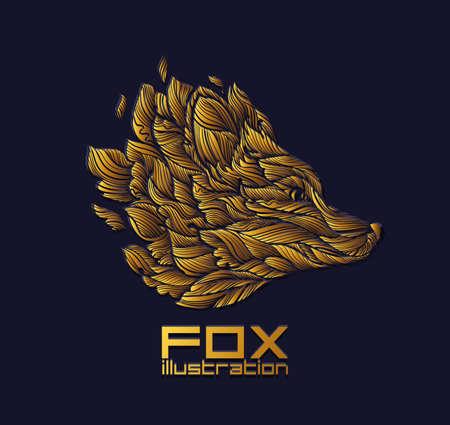 벡터 폭스 또는 늑대 디자인 아이콘 로고 럭셔리 골드